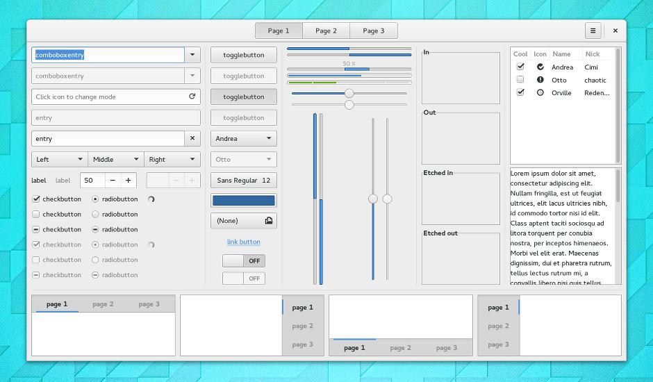 GTK+ 3 Widget Factory 3.14