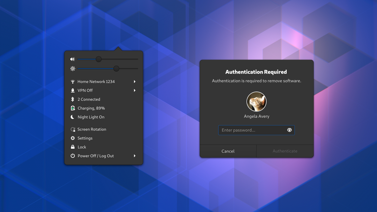 System menu and dialog mockup