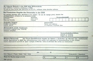 Application for entering the GDR