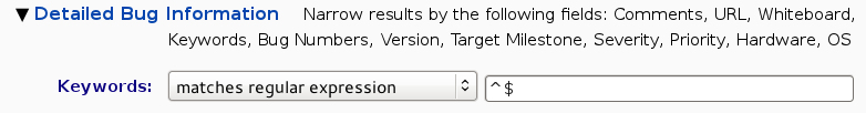 Keywords | matches regular expression | ^$
