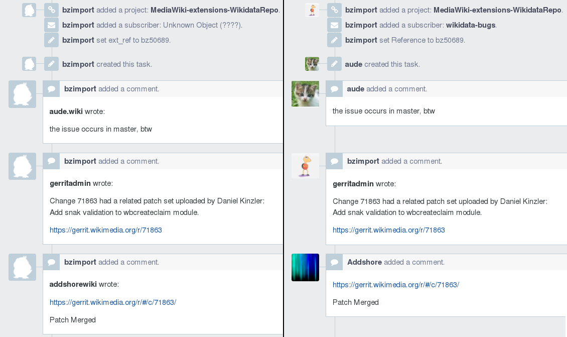 A task before and after users have claimed their previous Bugzilla accounts (positions of comments in the right image manually altered for better comparison).