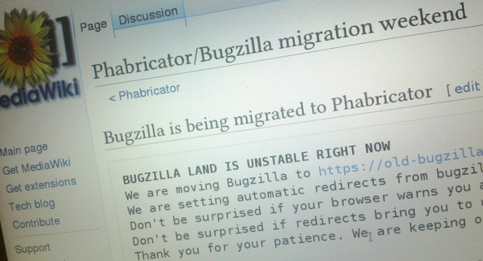 The page on mediawiki.org that users were redirected to while the migration was taking place.