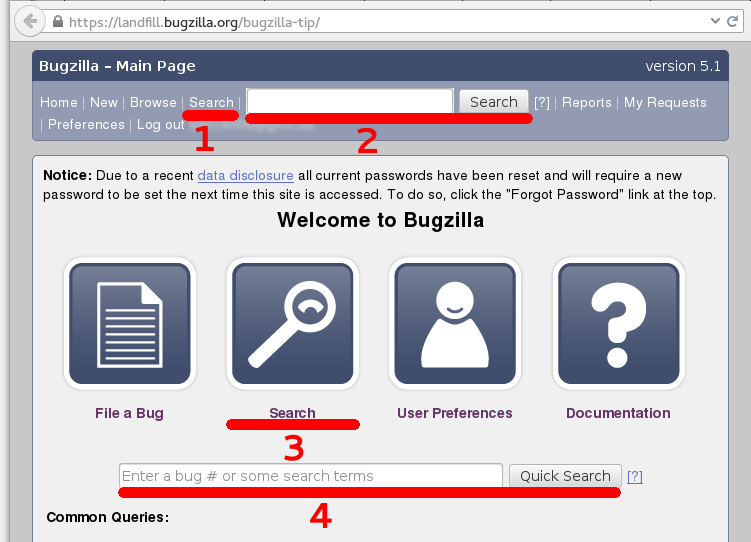 Upstream Bugzilla front page with four search options