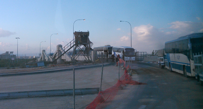 At the border crossing between Jordan and the West Bank