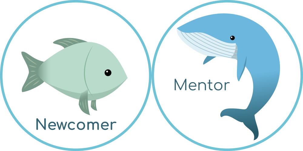 Newcomer and Mentor sticker designs