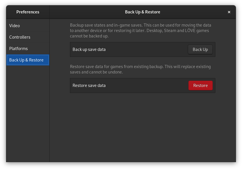 Backup & Restore page in Games 3.34