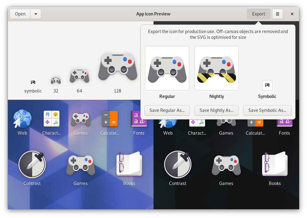 GNOME Games icon in App Icon Preview