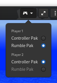 Nintendo 64 controller expansion switcher in GNOME Games