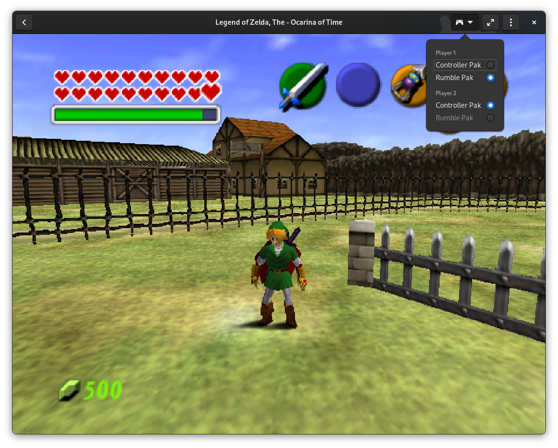 The Legend of Zelda: Ocarina of Time running in Games 3.38, with controller pak switcher open
