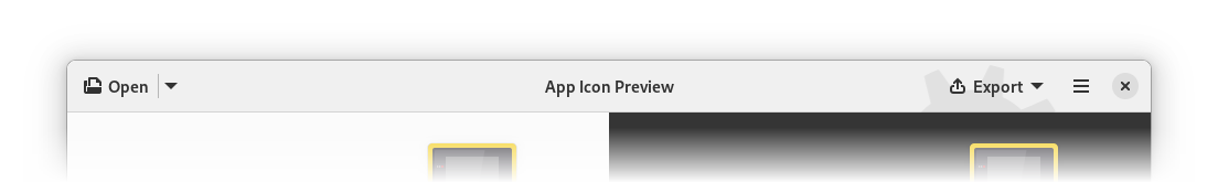 App Icon Preview with an icon on the export button