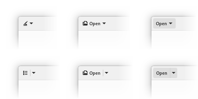 Icon-only, icon+text and text-only arrow and split buttons