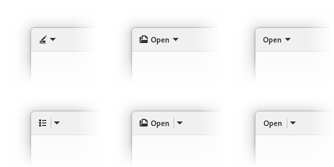 Icon-only, icon+text and text-only arrow and split buttons, updated. Text buttons are flat too now
