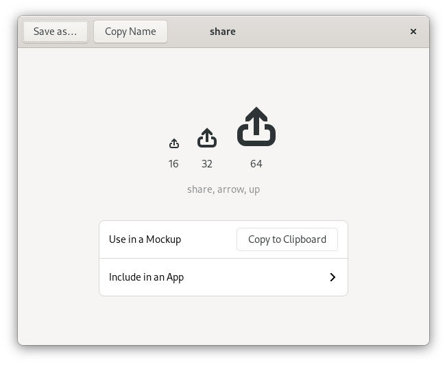 Icon Library showing the share icon