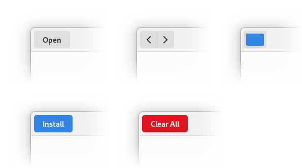 Raised button examples: text buttons, linked buttons, custom buttons, suggested and destructive buttons