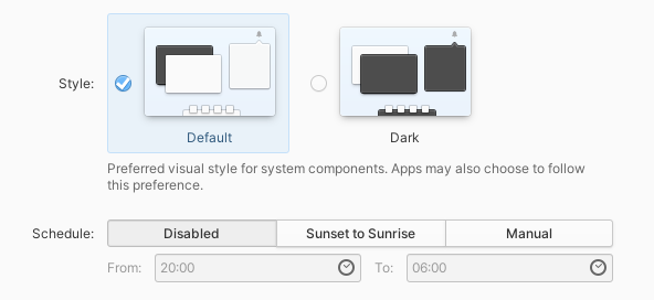 Style: default; dark. Preferred visual style for system components. Apps may also choose to follow this preference. Schedule: Disabled; Sunset to Sunrise; Manual. From: 20:00, To: 06:00