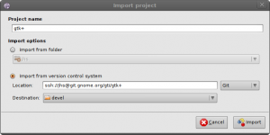 New project import dialog