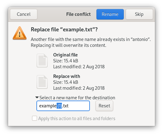 File conflict dialog suggesting a new name to avoid overwriting existing file