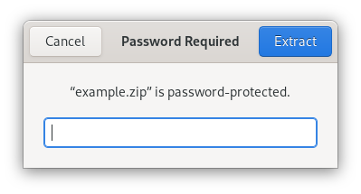 Dialog with password prompt for zip file