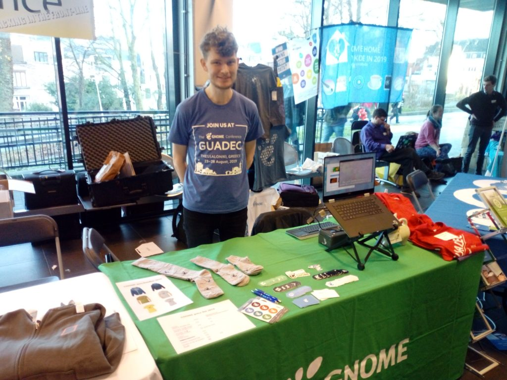 Me at GNOME's FOSDEM booth