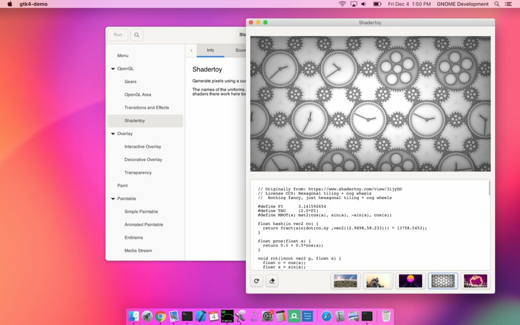 A screenshot of the macOS backend