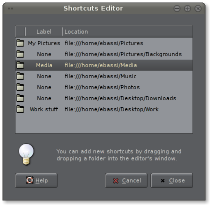 GTK+ shortcuts editor