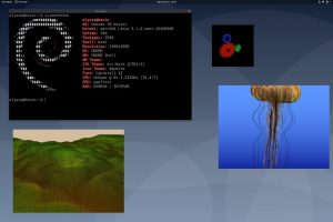 A screenshot of panfrost in action, with four open images of a Debian terminal, a logo, a jellyfish, and a computer generated landscape.