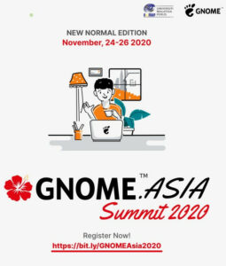 A drawn image of a person at a computer, sporting the GNOME logo, in gront of a window and a plant. Text reads: AGNOME.Asia Summit 2020