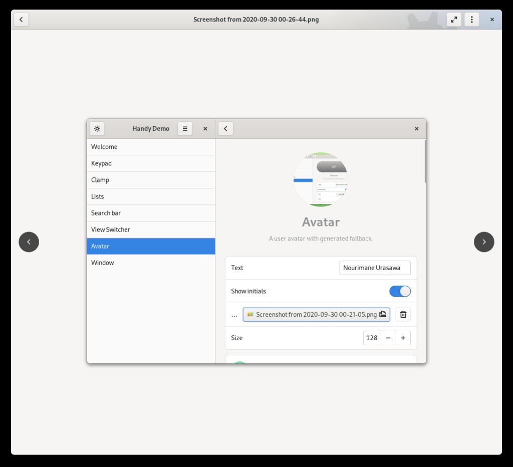 Captura de tela do visualizador de imagens do Fractal, com botões redondos