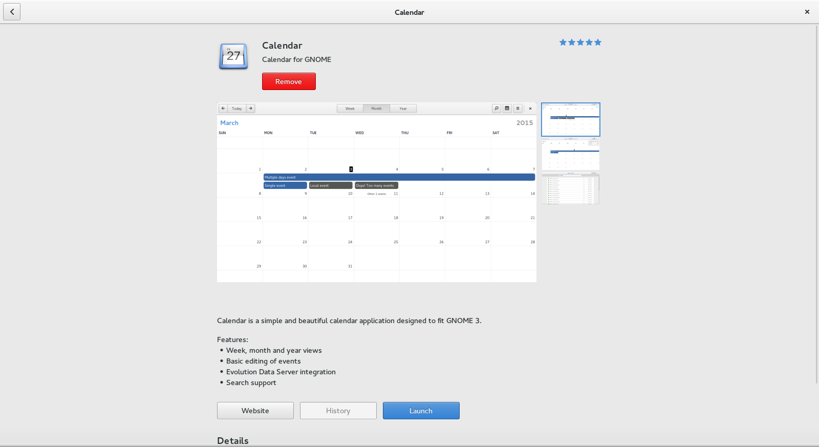 GNOME Calendar in GNOME Software