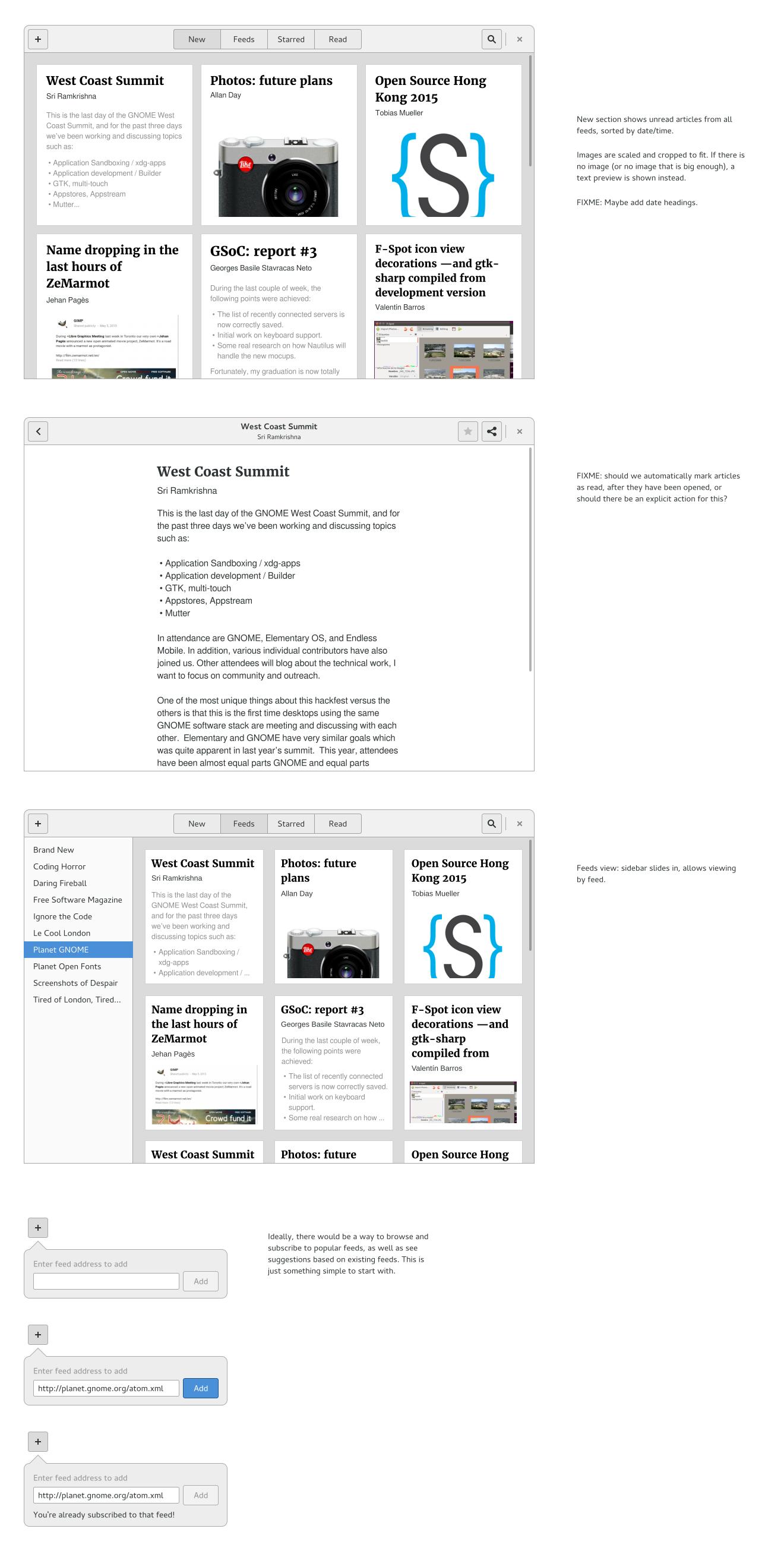 GNOME News mockup
