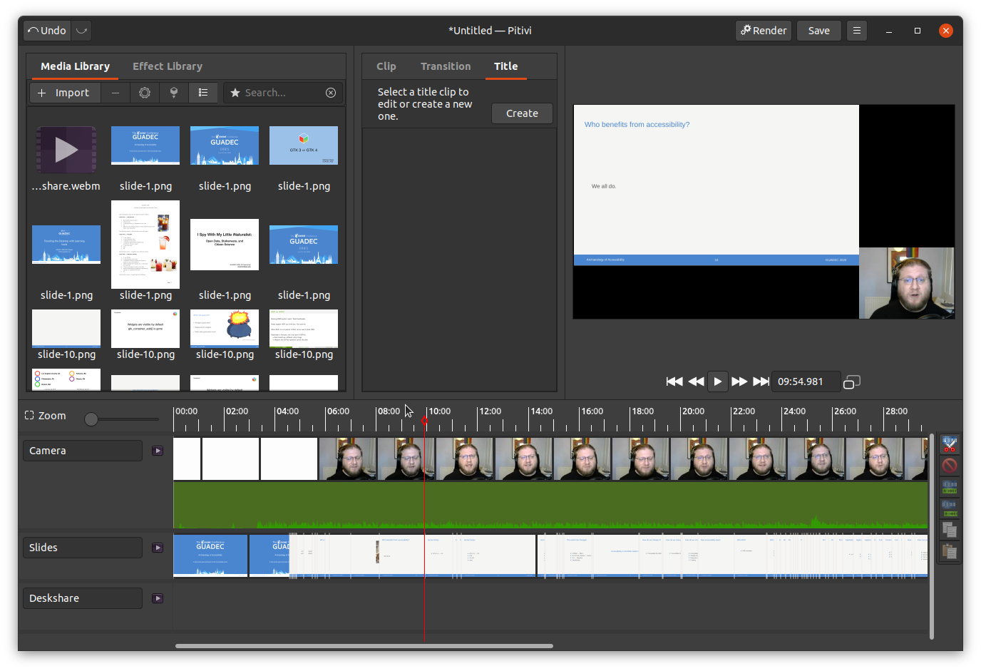 screenshot of Pitivi video editor