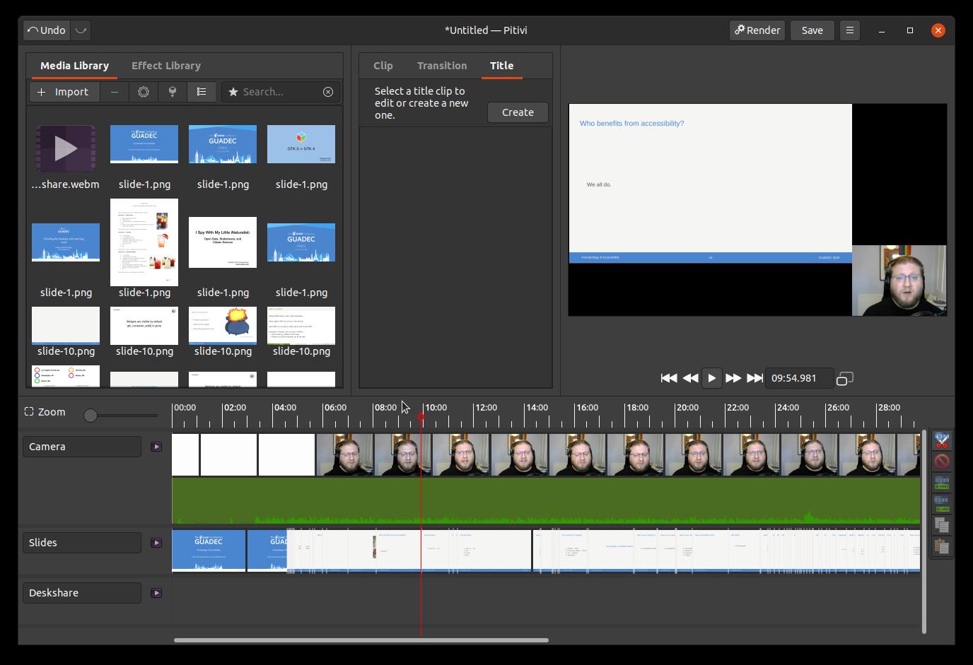 screenshot of Pitivi video editor