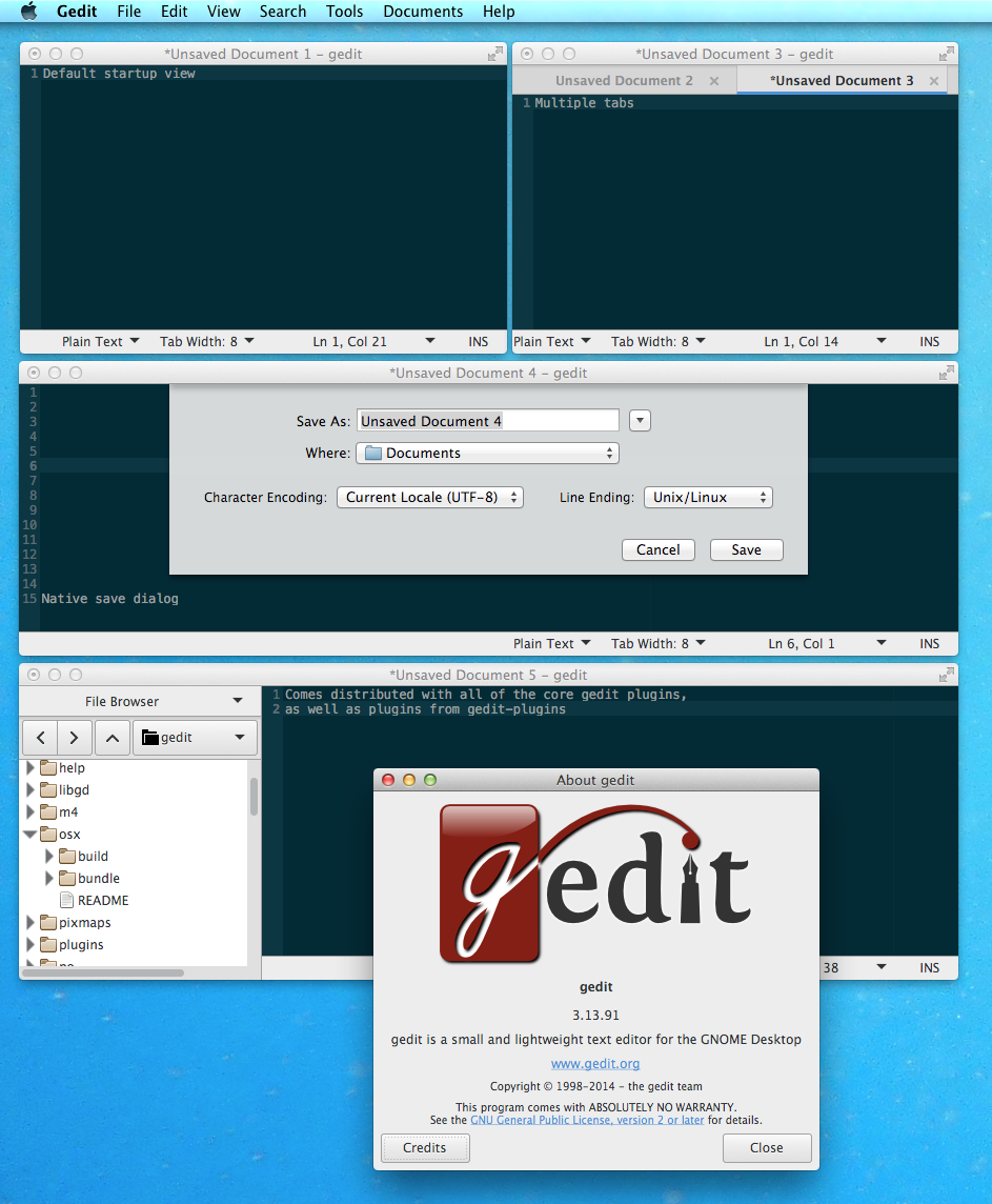 gedit 3.13.91 on OS X