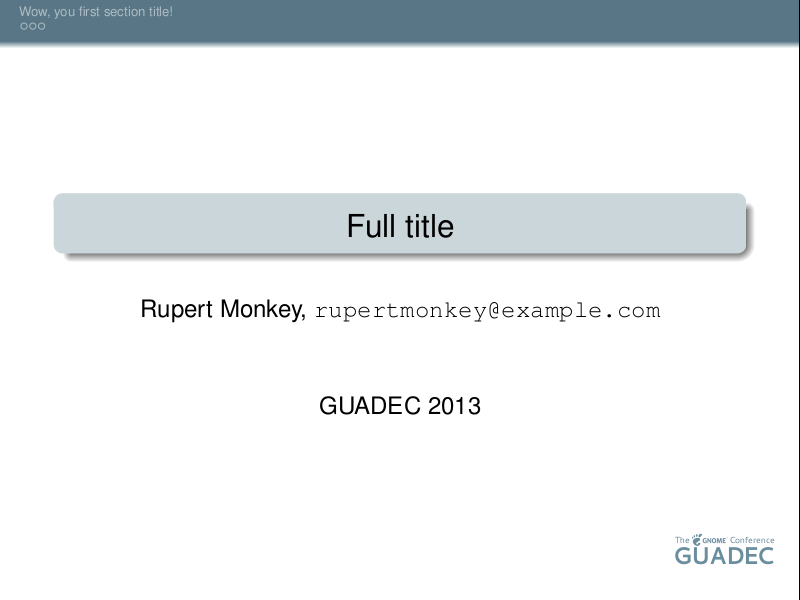 LaTeX Beamer presentation slide using a GUADEC 2013 theme, showing the title slide.