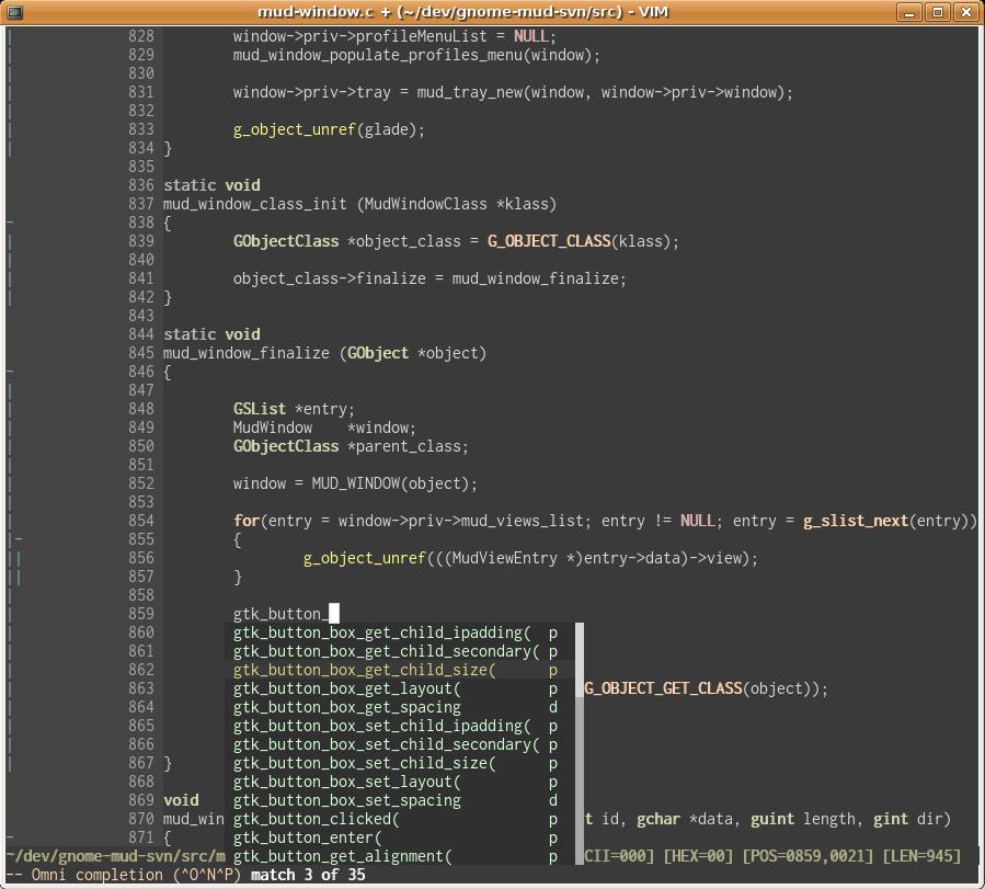 VIM GTK+ Completion