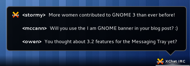 GNOME 3 IRC messages