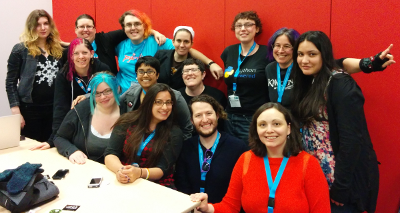 The group, including 3 OPW alums and 4 mentors, at the Feminist Hacker Lounge at PyCon 2014.