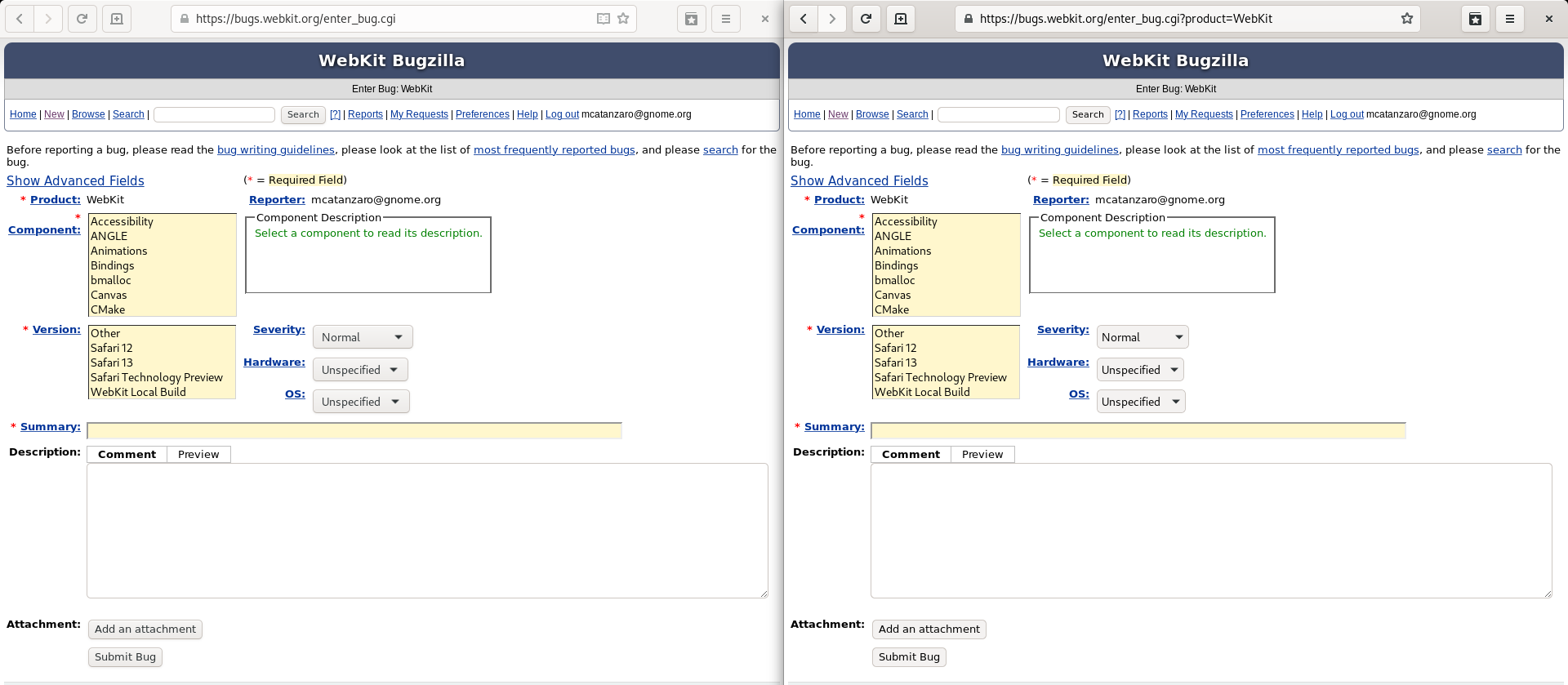 Screenshot demonstrating new HTML theme vs. GTK theme