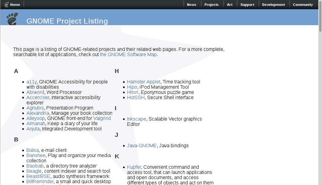projects.gnome.org screenshot