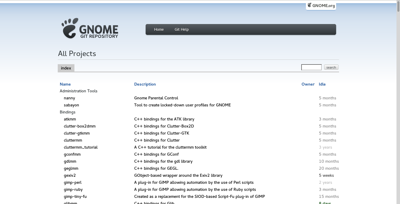 git.gnome.org screenshot