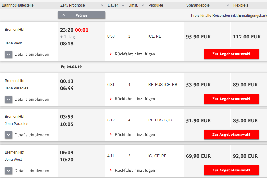 Search result for going from Bremen to Jena