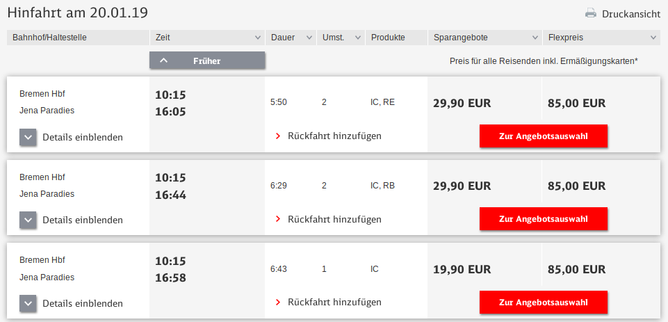 cheapest fare not found by the sparpreisfinder