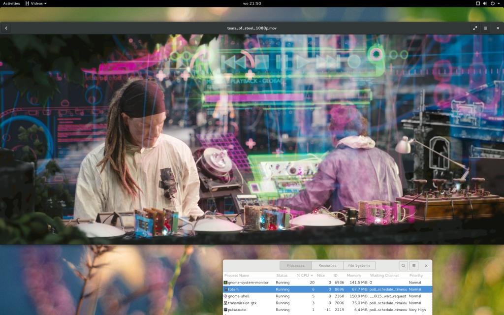 Playing 1080p movie using Totem with 6-7% CPU usage