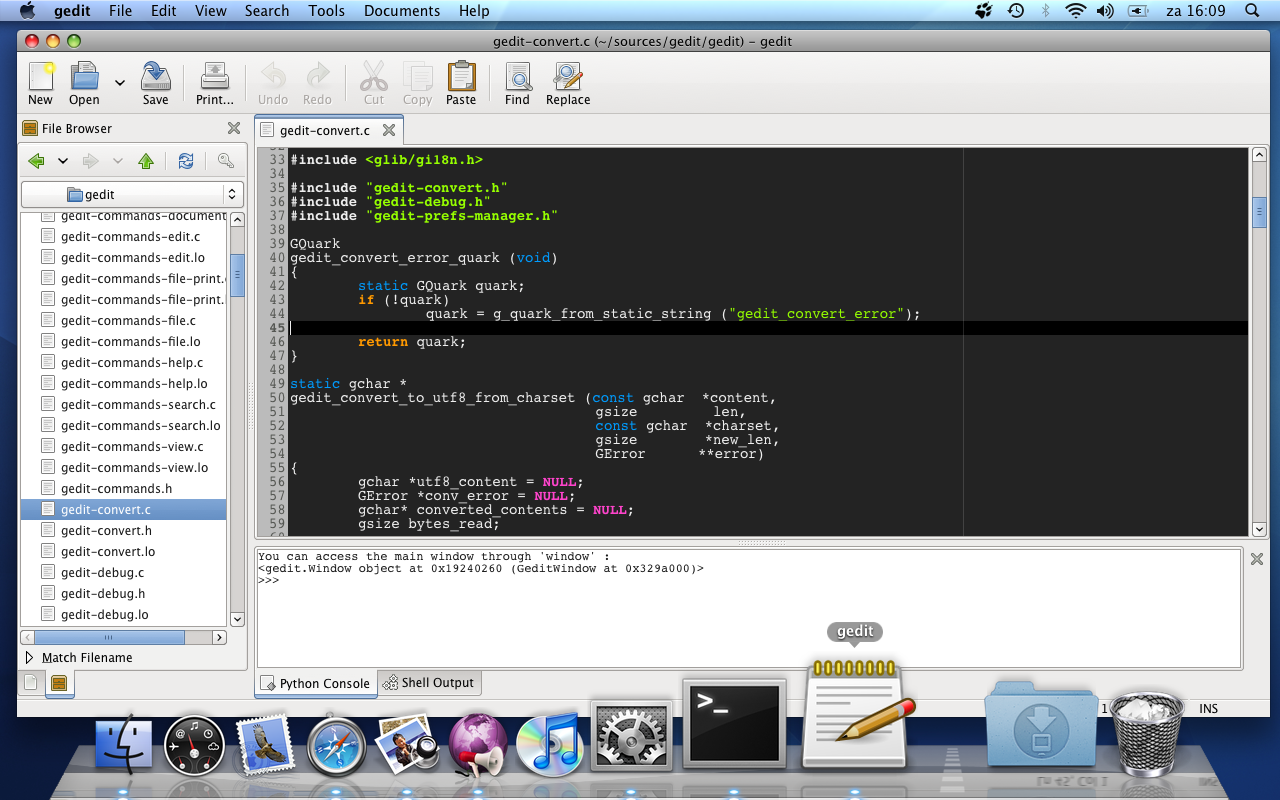 gedit on OSX