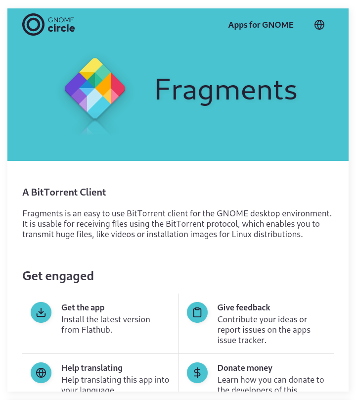 """Detail page for the Fragments app. A colored header with app description and an """"get engaged"""" section below."""