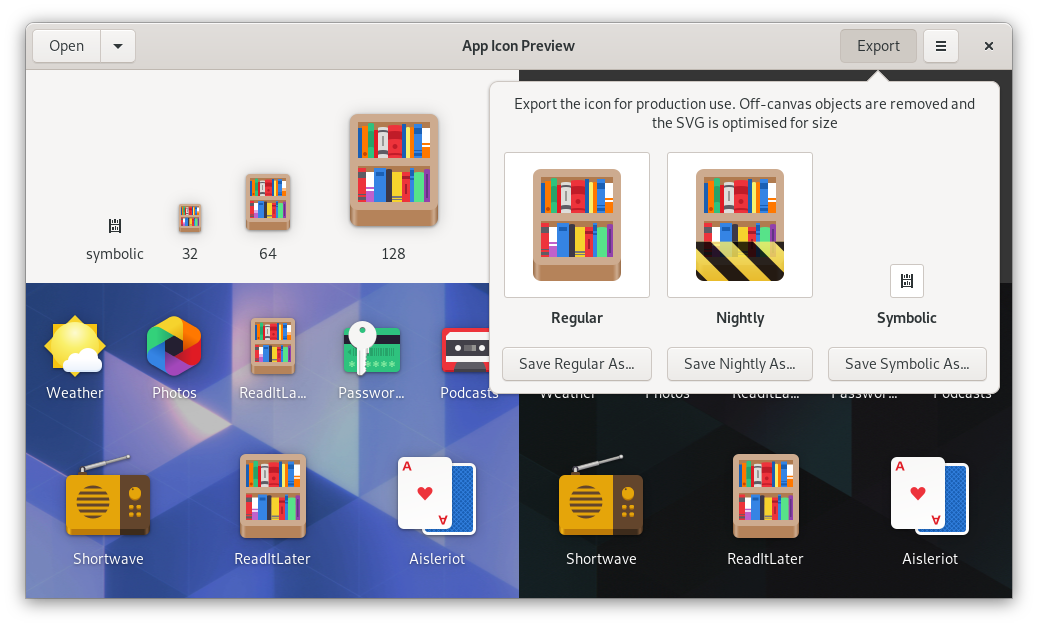 Export Popover in App Icon Preview