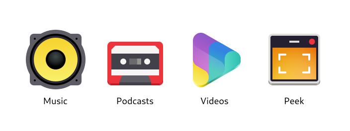 The Music, Podcasts, Videos, and Peek icons