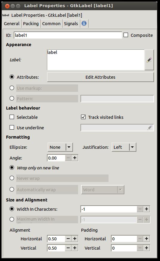 GtkLabel Editor After