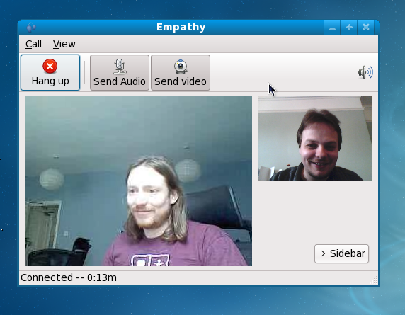 Empathy video-conf, Sjoerd and myself talking