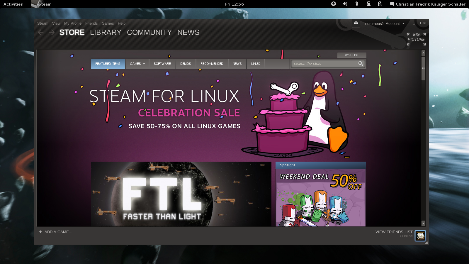 Screenshot of Steam running on Fedora